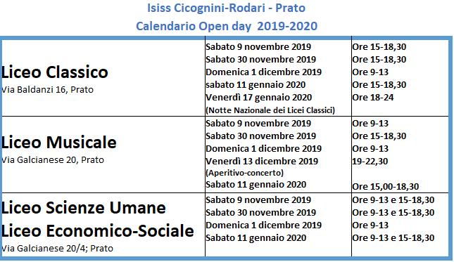 Orari open day 2019-2020